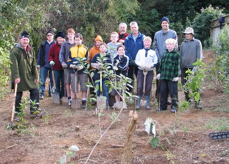 Scouts join spades with Friends of Tawa Bush reserves