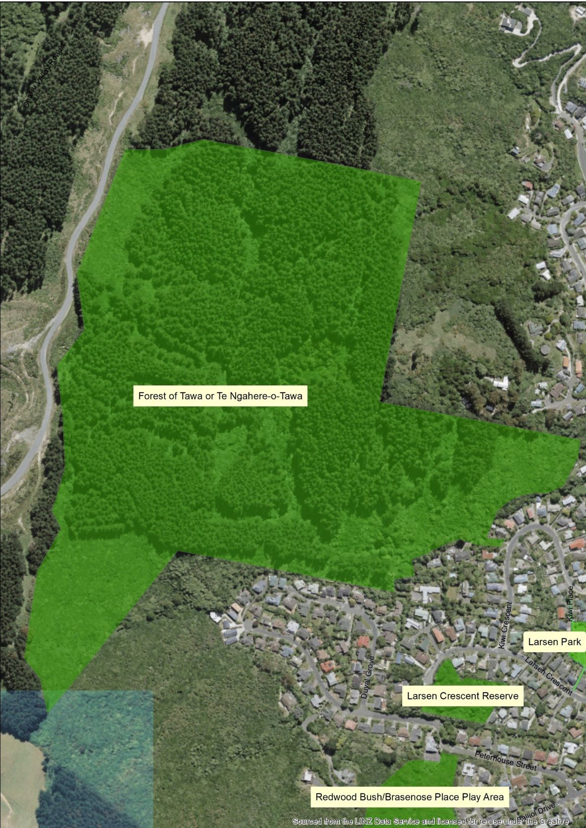 Aerial map Forest of Tawa