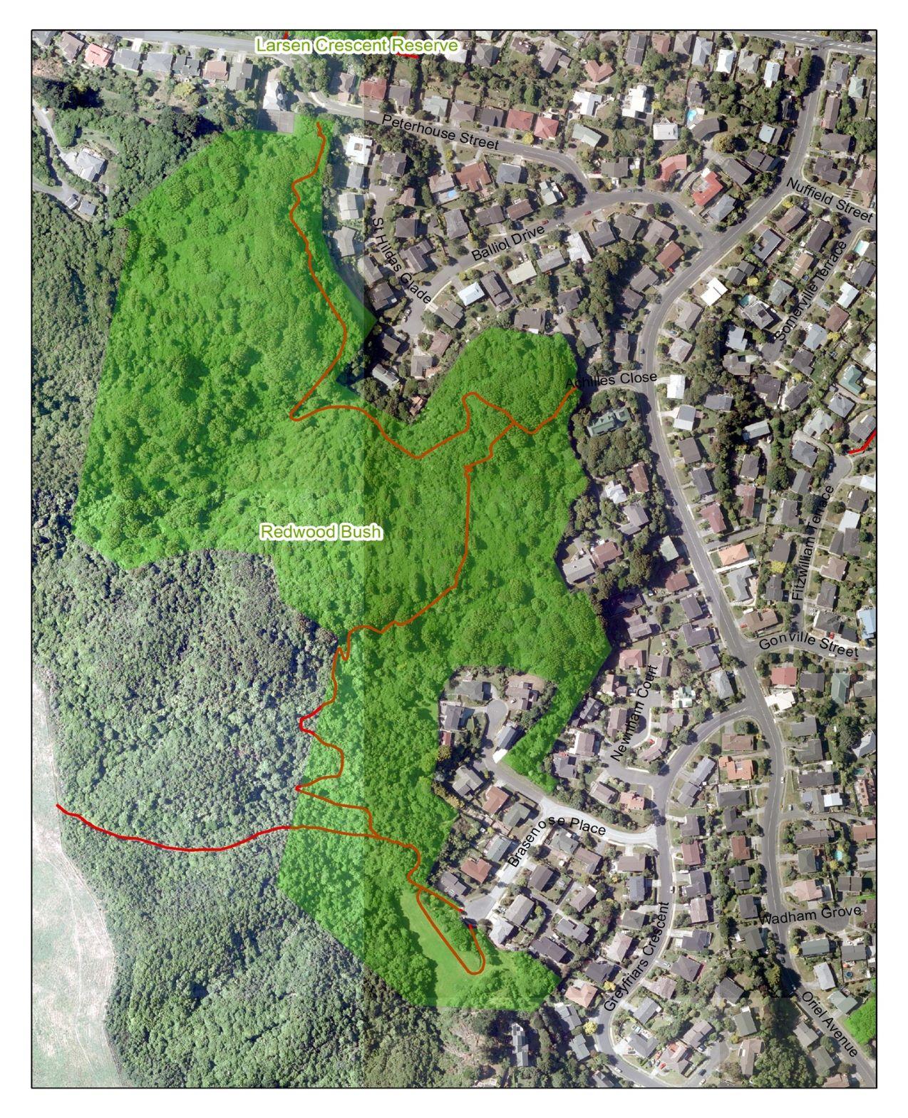 Aerial map Redwood Bush Reserve