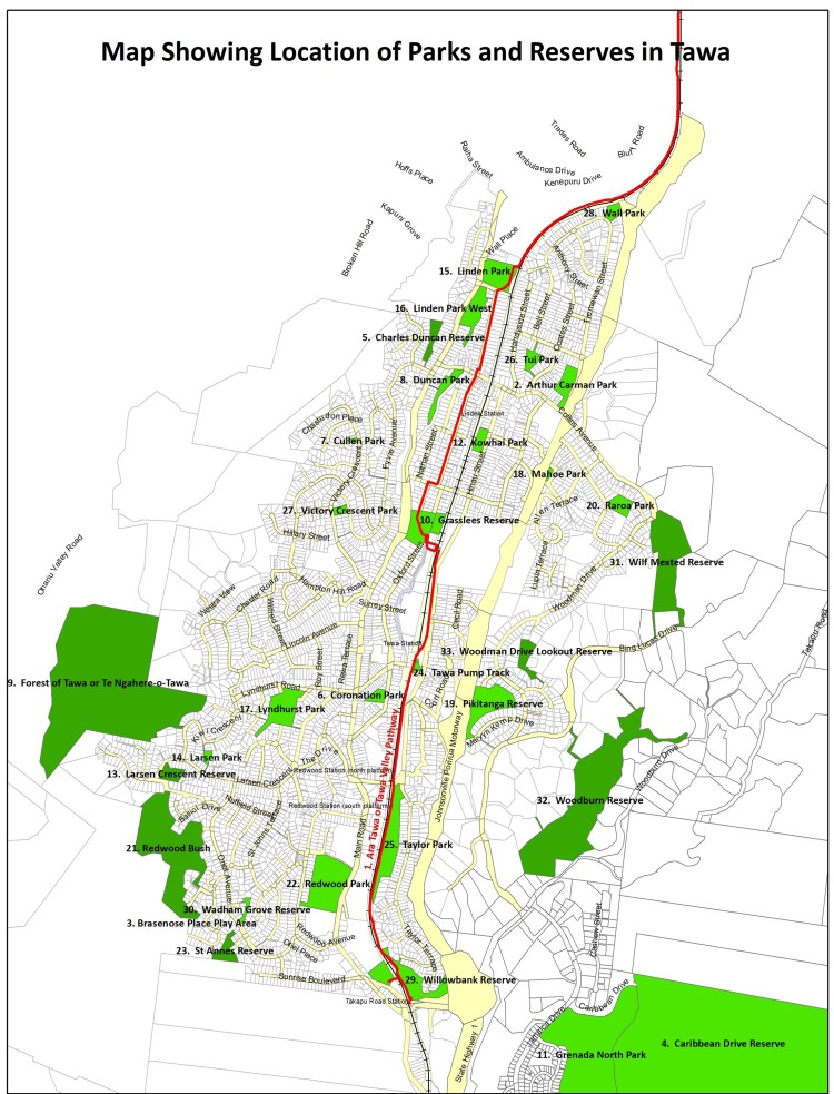 Parks and Reserves in Tawa map