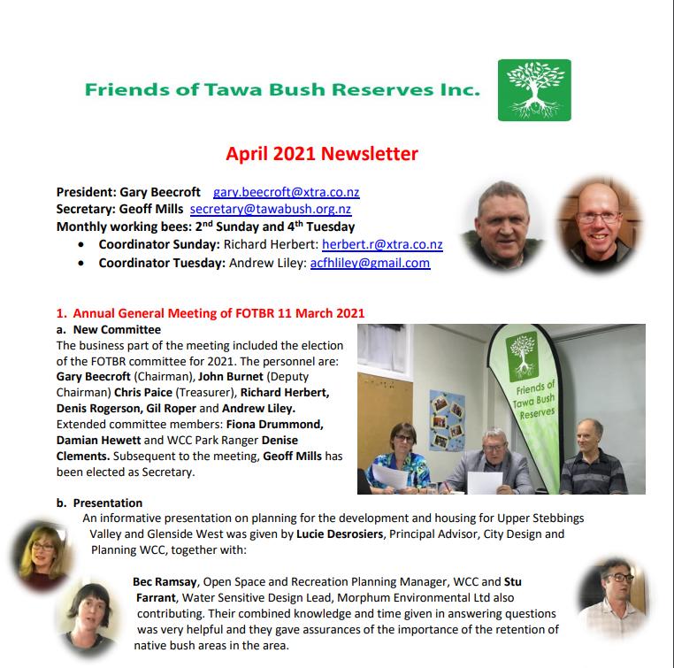 April 2021 Newsletter snippet | Friends of Tawa Bush Reserves