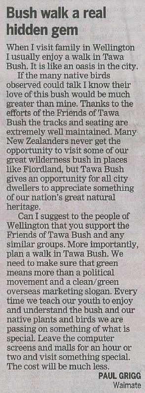 Bush walk a real gem 28 Jan 2015 Dom Post
