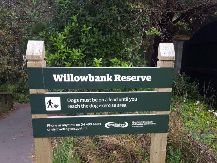 Willowbank Reserve sign at Zande Tce entrance 2021 06 06