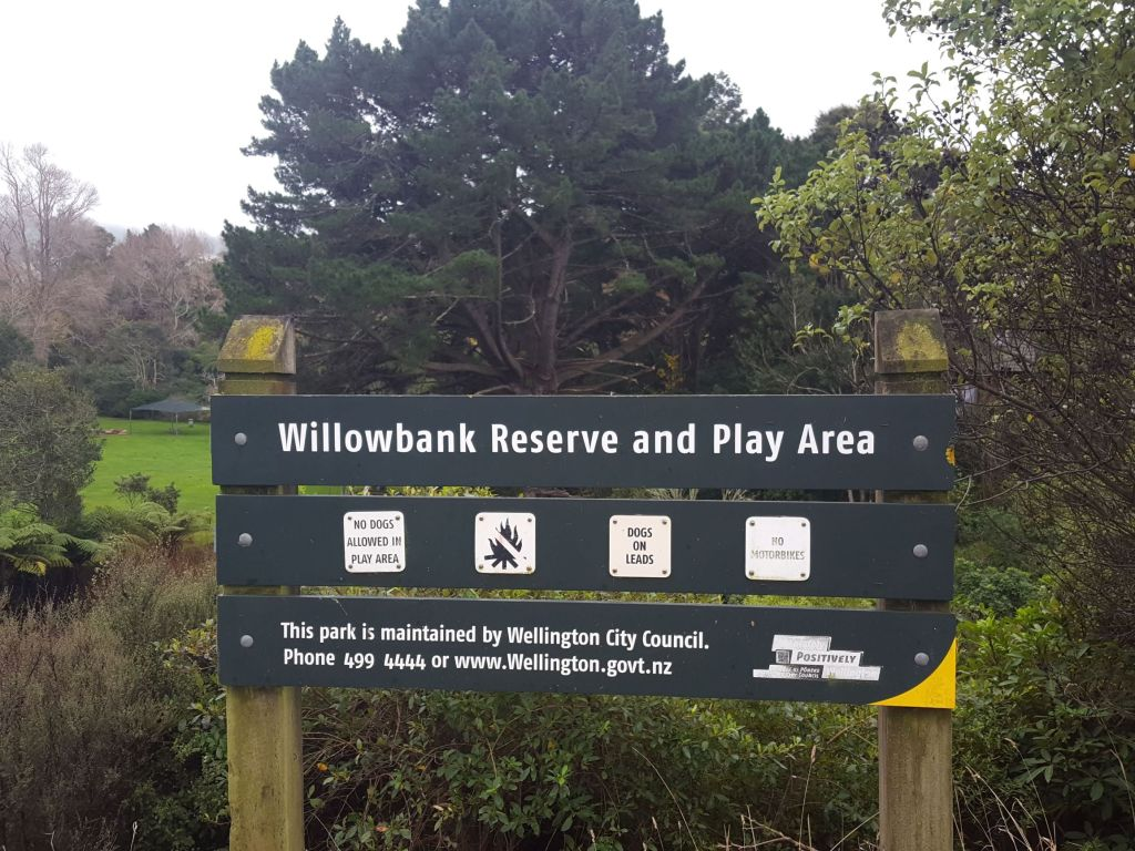 Willowbank Reserve Sign at Takapu Rd entrance between roundabout to Countdown and bridge Willowbank Reserve Sign Boscobel Lane entrance 2021 06 06